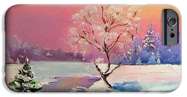 Snow iPhone Cases - Frosty Silence iPhone Case by Viktoriya Sirris