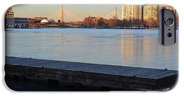 Charles Bridge Digital iPhone Cases - Frozen dock on the Charles River iPhone Case by Toby McGuire
