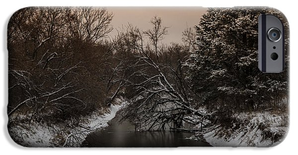 Winter Scene Pyrography iPhone Cases - Frozen River iPhone Case by Mark Burgess