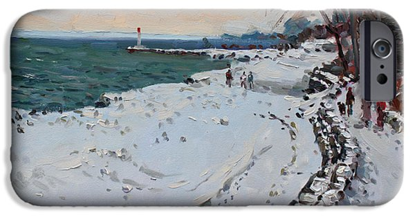 Toronto Paintings iPhone Cases - Frozen Shore in Oakville ON iPhone Case by Ylli Haruni