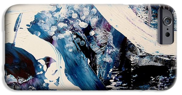 Blue Abstracts iPhone Cases - Frozen Waterfall iPhone Case by Louise Adams