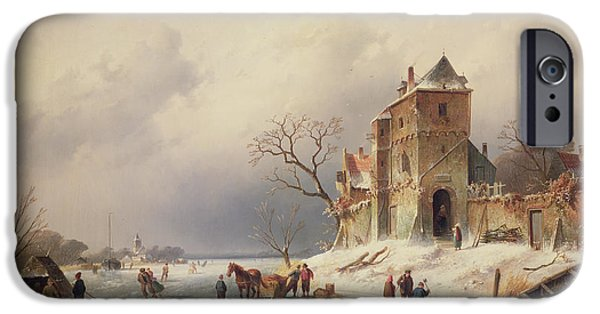 Frigid iPhone Cases - Frozen Winter Scene iPhone Case by Charles-Henri-Joseph Leickert