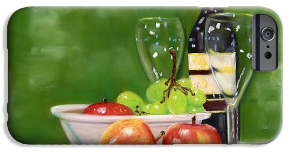 Table Wine Pastels iPhone Cases - Fruit and Wine iPhone Case by Kathryn Foster