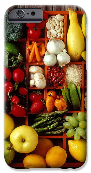 Fruit iPhone Cases - Fruits and vegetables in compartments iPhone Case by Garry Gay
