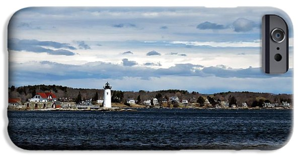 New England Snow Scene iPhone Cases - Ft. Constitution Lighthouse #1 iPhone Case by Marcia Lee Jones
