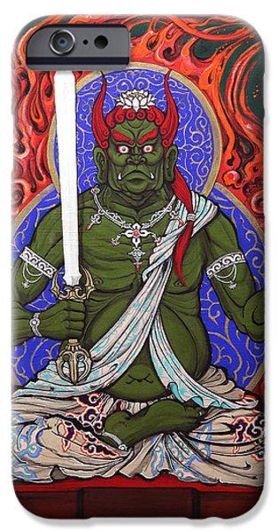 Buddhism iPhone Cases - Fudo Myo-o iPhone Case by Yugo Omniinks