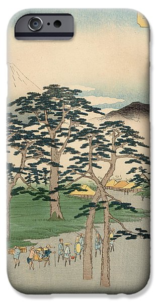 Snowy Drawings iPhone Cases - Fujisawa from the series Fifty Three stations of the Tokaido iPhone Case by Hiroshige