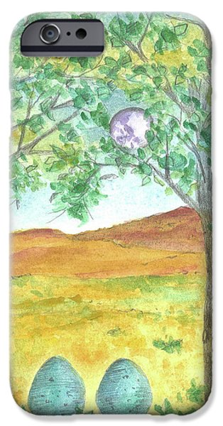 Mystical Landscape Mixed Media iPhone Cases - Full Moon and Robin Eggs iPhone Case by Cathie Richardson