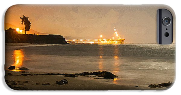 Dog In Landscape Digital iPhone Cases - Full Moon At Carpinteria iPhone Case by Ron Regalado