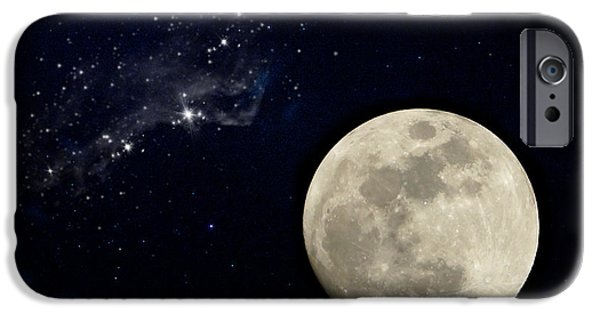 Tranquil Sculptures iPhone Cases - Full Moon Night. iPhone Case by Noppharat Manakul
