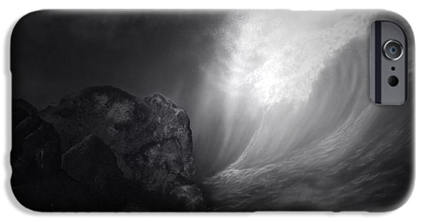 Marine iPhone Cases - Full Moon On The Reef Black And White PA iPhone Case by Thomas Woolworth