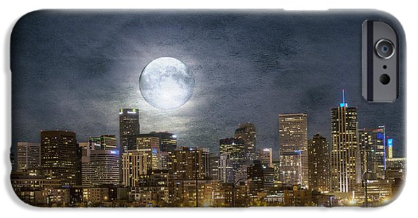 Buildings iPhone Cases - Full Moon Over Denver iPhone Case by Juli Scalzi