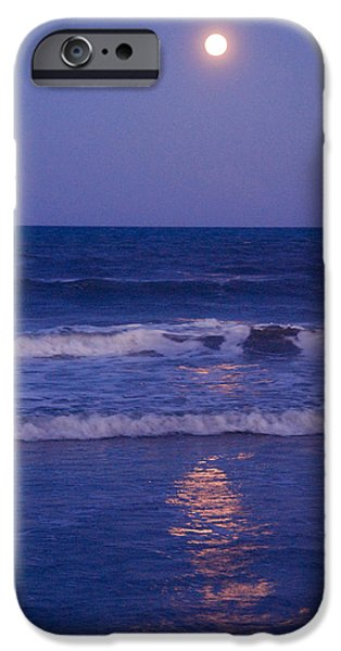 Reflections Of Nature iPhone Cases - Full Moon over the Ocean iPhone Case by Susanne Van Hulst