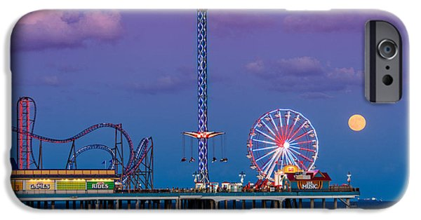 Ocean Sunset iPhone Cases - Full Moon Rising and Historic Pleasure Pier in Galveston Island - Texas Gulf Coast iPhone Case by Silvio Ligutti