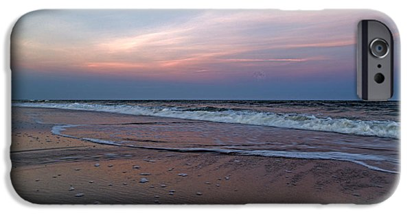 Topsail iPhone Cases - Full Moon Sunset Topsail Island  iPhone Case by Betsy C  Knapp