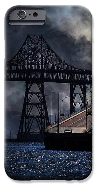 Full Moon Surreal Night At The Bay Area Richmond-San Rafael Bridge - 5D18440 iPhone Case by Wingsdomain Art and Photography