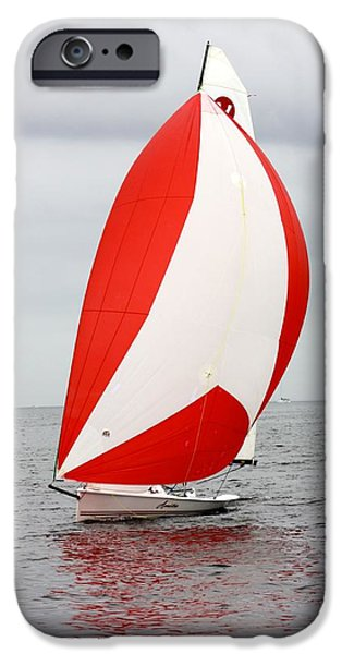 Sailboat Ocean iPhone Cases - Full Sail iPhone Case by Leslie Lajoie
