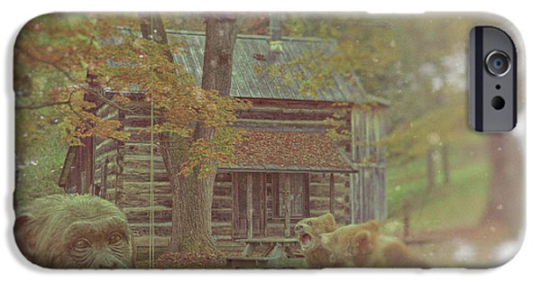 Old Digital Art iPhone Cases - Fun Time at the old country cabin iPhone Case by KJ DePace