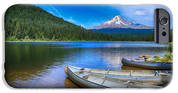 Canoe iPhone Cases - Fun times at Lake Trillium iPhone Case by Lynn Hopwood