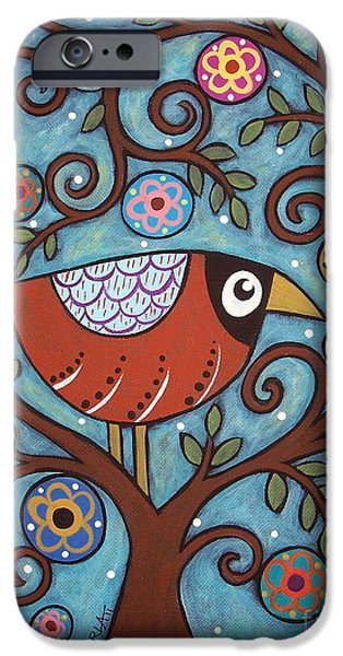 Pillow iPhone Cases - Funky Bird iPhone Case by Karla Gerard