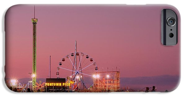 Stretched Canvas iPhone Cases - Funtown Pier At Sunset III - Jersey Shore iPhone Case by Angie Tirado
