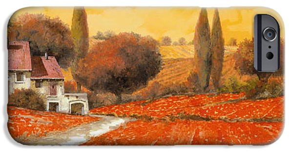 Vineyard Landscape iPhone Cases - fuoco di Toscana iPhone Case by Guido Borelli