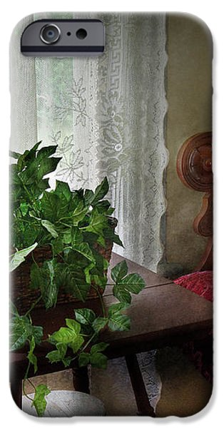 Furniture - Plant - Ivy in a window  iPhone Case by Mike Savad