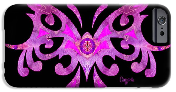 Abstract Digital Drawings iPhone Cases - Fuschia Tribal Butterfly Abstract Macro Transformations by Omash iPhone Case by Omaste Witkowski