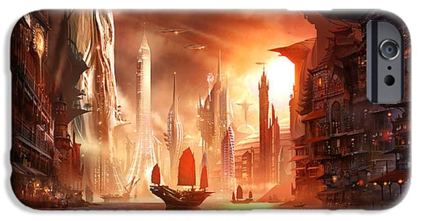 Concept Art iPhone Cases - Future Harbor iPhone Case by Alex Ruiz