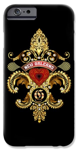 Jambalaya iPhone Cases - G-Fleur-de-lis New Orleans Transparent Back Pick Color iPhone Case by Bill Campitelle