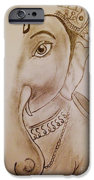 Religious Drawings iPhone Cases - Gauri Nandan Shree Ganesh iPhone Case by Navroz  Raje