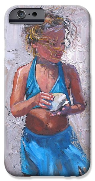 Pallet Knife Paintings iPhone Cases - Gabby iPhone Case by Laura Lee Zanghetti