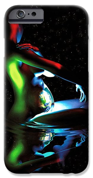 Gaia Digital iPhone Cases - Gaia Bathing in a Pool of Stars iPhone Case by Pet Serrano