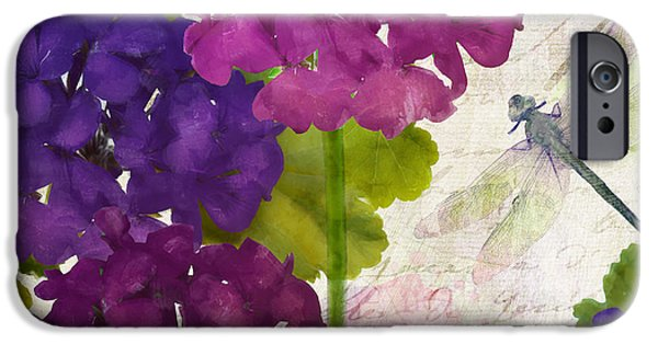 Fuschia iPhone Cases - Gaia II Geraniums iPhone Case by Mindy Sommers