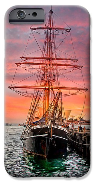 Tall Ship iPhone Cases - Galleanos Quest iPhone Case by Az Jackson