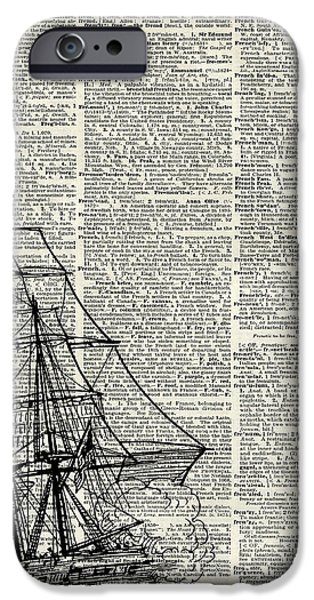 Animation iPhone Cases - Galleon Ship over Dictionary Page iPhone Case by Jacob Kuch