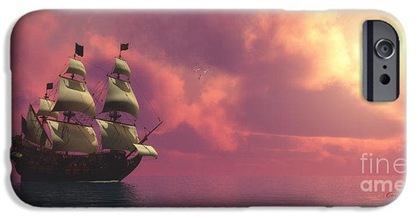 Windjammer iPhone Cases - Galleon Ship with Sails iPhone Case by Corey Ford