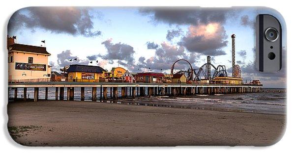 Pleasure iPhone Cases - Galveston Island Historic Pleasure Pier iPhone Case by Andy Myatt