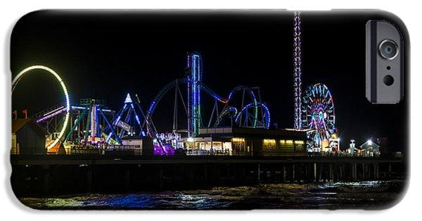 Pleasure iPhone Cases - Galveston Island Historic Pleasure Pier at Night iPhone Case by Andy Myatt