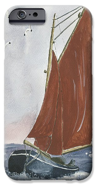 Seagull Drawings iPhone Cases - Galway Hooker iPhone Case by Eva Ason