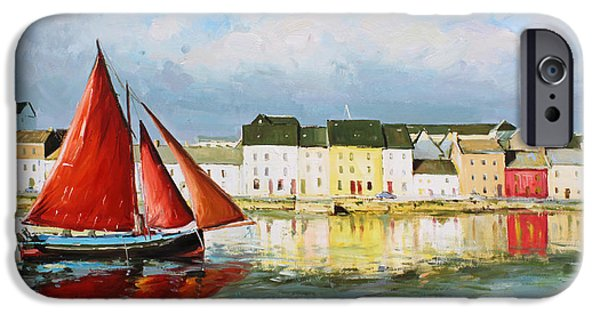 Sailing Paintings iPhone Cases - Galway Hooker Leaving Port iPhone Case by Conor McGuire