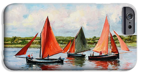 Boat Paintings iPhone Cases - Galway Hookers iPhone Case by Conor McGuire