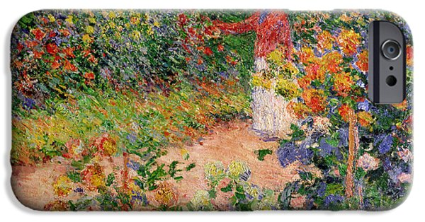 Figure iPhone Cases - Garden at Giverny iPhone Case by Claude Monet