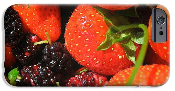 Berry Pyrography iPhone Cases - Garden Berries iPhone Case by Calvin Nelson