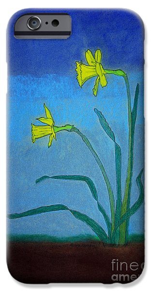Appleton Art iPhone Cases - Garden Daffodils iPhone Case by Norma Appleton
