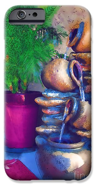 Tree Art Print iPhone Cases - Garden Fountain iPhone Case by Kirt Tisdale