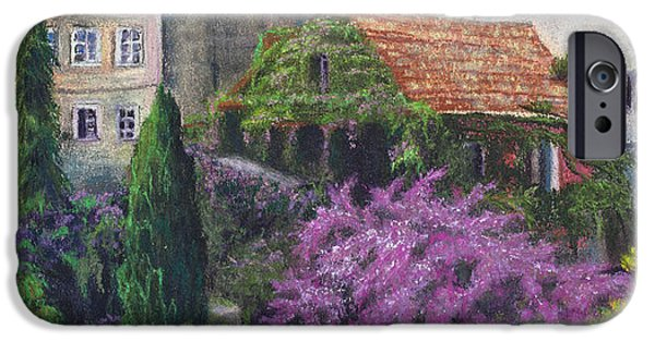 Garden Scene Pastels iPhone Cases - Garden in Spain  iPhone Case by Lani Whitley