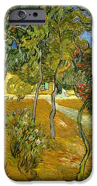 Mental Paintings iPhone Cases - Garden of Saint Pauls Hospital iPhone Case by Vincent van Gogh