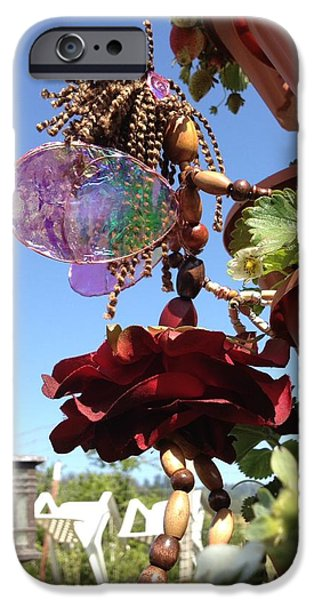 Film Sculptures iPhone Cases - Garden Rose Fairy iPhone Case by Shawna Namaste