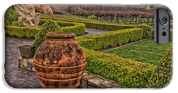 Garden Statuary iPhone Cases - Garden Statuary at the Del Dotto Estate Winery iPhone Case by Mountain Dreams